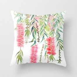 bottle brush tree flower Throw Pillow