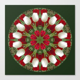 Tulip Kaleidoscope - Red And White Canvas Print