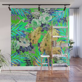BLUE & GREEN FLORAL PATTERN Wall Mural