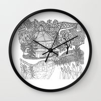 vermont Wall Clocks featuring Vermont Round Barn, Waitsfield Vermont by Vermont Greetings