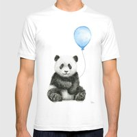 Panda Baby Animal with Blue Balloon White Mens Fitted Tee MEDIUM