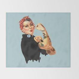 Tattooed Rosie the Riveter Throw Blanket