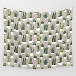Watercolour cacti & succulents - Beige Wall Tapestry
