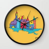 europe Wall Clocks featuring europe by PINT GRAPHICS