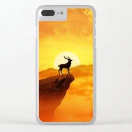 lonely sunset deer Clear iPhone Case