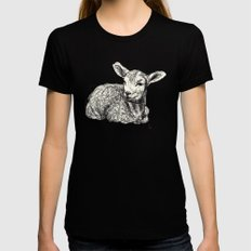 Baby Animals - Lamb (Pink) Womens Fitted Tee LARGE Black