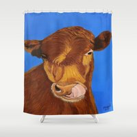cow Shower Curtains featuring Cow by maggs326