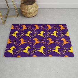 Horse Nation Purple Gold Rug