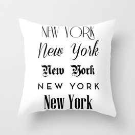 New York City Quote Sign, Digital Download, Calligraphy Text Art, World City Typography Print Throw Pillow