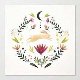 Floral Rabbit Pattern Canvas Print