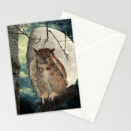 Great Horned Owl Bird Moon Tree A138 Stationery Cards