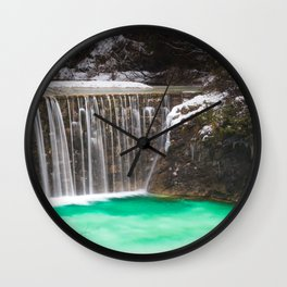Waterfall stunning turquoise water lake Jasna, Slovenia Wall Clock