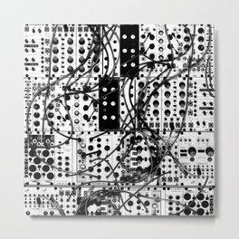 analog synthesizer system - modular black and white Metal Print