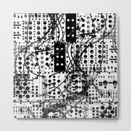 analog synthesizer system - modular black and white Metal Print