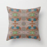 lara croft Throw Pillows featuring lara by kallia panopoulou
