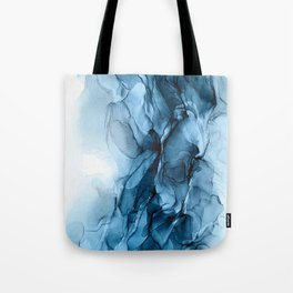 Deep Blue Flowing Water Abstract Painting Tote Bag