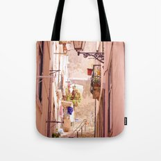 the narrow street in lisbon Tote Bag