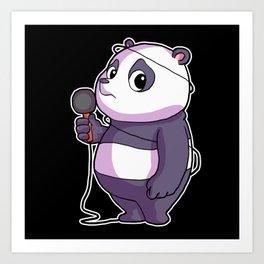 Panda Singer Musician Karaoke Art Print