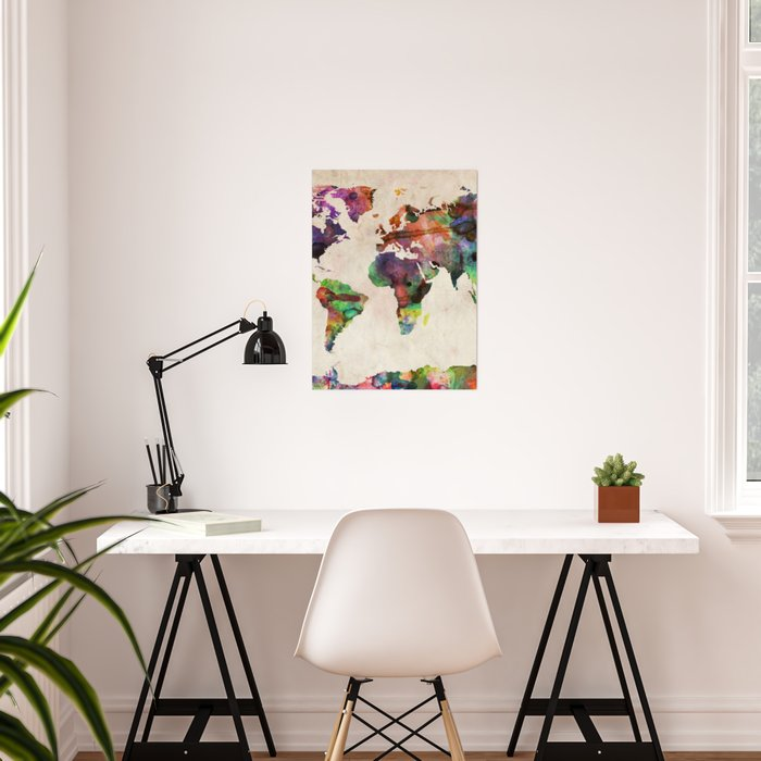 World map urban watercolor poster by artpause society6 world map urban watercolor poster gumiabroncs Images