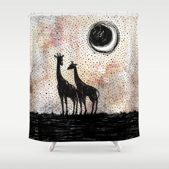 Giraffes in the Sunset Shower Curtain