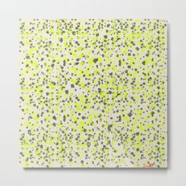 Abstract Yellow and Grey Dotted pattern Metal Print