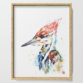 Woodpecker Colorful Watercolor Bird Painting Serving Tray