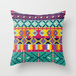 Seamless colorful aztec pattern with birds Throw Pillow