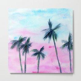 Sunset in Miami || watercolor Metal Print