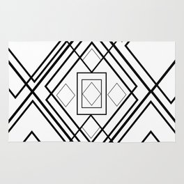 Modern black white geometrical diamond shapes Rug