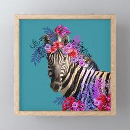 Zebra Flower Fantasy Artwork - Hibiscus Monstera Leaves Framed Mini Art Print
