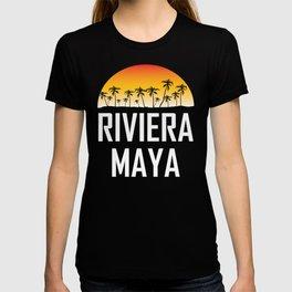 Riviera Maya Mexico Sunset Palm Trees Beach T-shirt