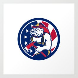 Bulldog Fireman American Flag Icon Art Print