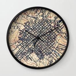 Vintage Map of Charlotte North Carolina (1905) Wall Clock