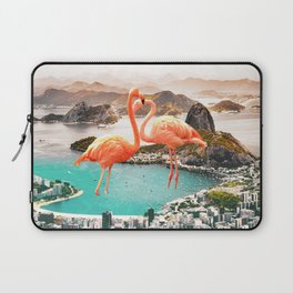 Collage, Flamingo, City, Creative, Nature, Modern, Trendy, Wall art Laptop Sleeve