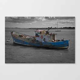 Old Boat On River Exe Canvas Print