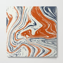 blue and orange marble abstract texture Pattern Metal Print