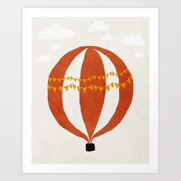 Balloon, Adventure, Mid century modern kids wall art, Nursery room Art Print