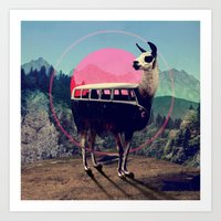 van Art Prints featuring Llama by Ali GULEC
