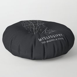 Mississippi State Road Map Floor Pillow