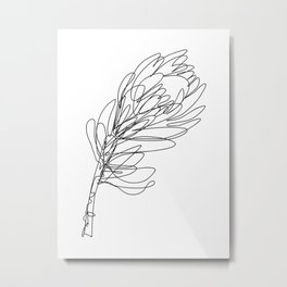 Abstract Protea Flower Continuous Line Drawing Metal Print