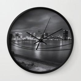 Norfolk Skyline II in Black and White Wall Clock