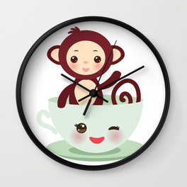 Cute Kawai pink cup with brown monkey Wall Clock