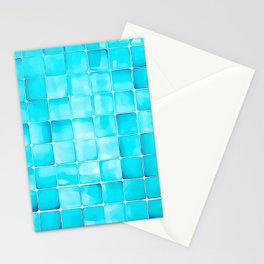 Blue-Green Mosaic Tiles Stationery Cards