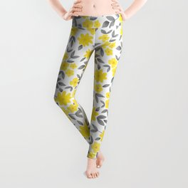 Watercolor Spring Summer Flowers, Floral Pattern in Illuminating Yellow and Ultimate Gray Color Leggings