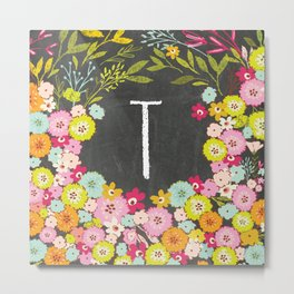 T botanical monogram. Letter initial with colorful flowers on a chalkboard background Metal Print