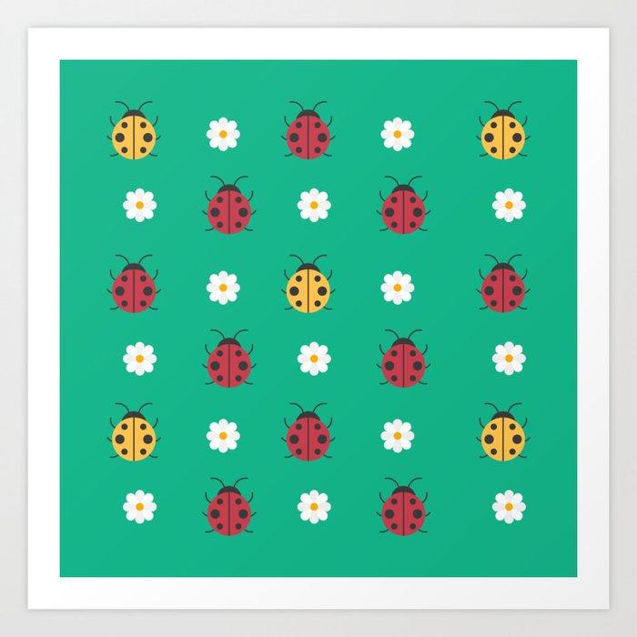 Cute Kawaii Ladybugs Art Print