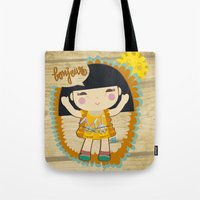 bonjour Tote Bags featuring Bonjour by maru y su cabeza