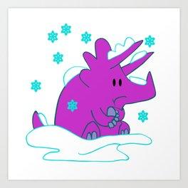 Freezing Triceratops Art Print