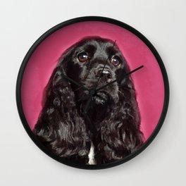 English Cocker Spaniel Dog Digital Art Wall Clock