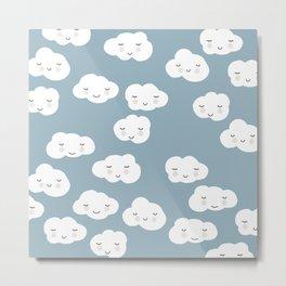 Kawaii clouds boys blue happy design pattern print Metal Print